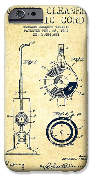Electronic iPhone Cases - Vacuum Cleaner Electric Cord patent from 1924 - Vintage iPhone Case by Aged Pixel