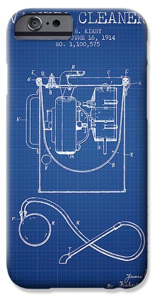 Electronic iPhone Cases - Vacuum Cleaner patent from 1914 - Blueprint iPhone Case by Aged Pixel