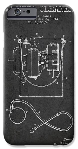 Electronic iPhone Cases - Vacuum Cleaner patent from 1914 - Charcoal iPhone Case by Aged Pixel