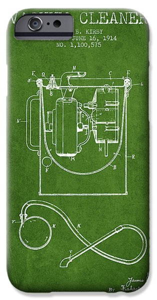 Electronic iPhone Cases - Vacuum Cleaner patent from 1914 - Green iPhone Case by Aged Pixel