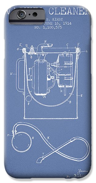 Electronic iPhone Cases - Vacuum Cleaner patent from 1914 - Light Blue iPhone Case by Aged Pixel