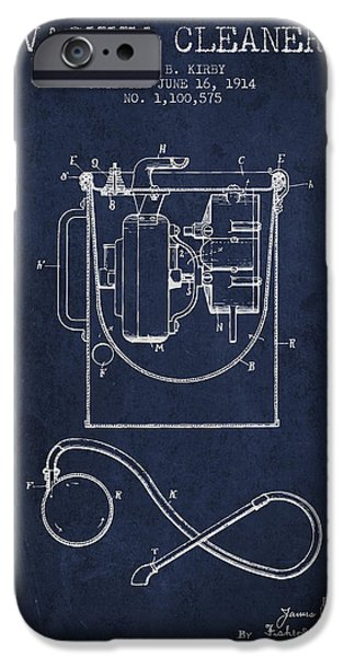 Electronics iPhone Cases - Vacuum Cleaner patent from 1914 - Navy Blue iPhone Case by Aged Pixel