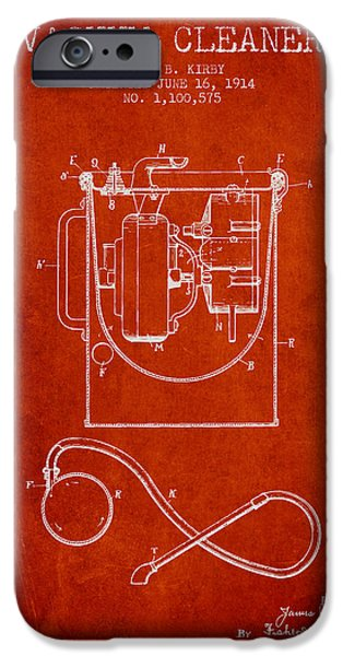 Electronics iPhone Cases - Vacuum Cleaner patent from 1914 - red iPhone Case by Aged Pixel