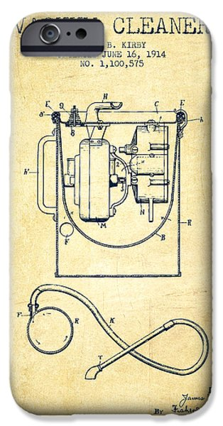 Electronics iPhone Cases - Vacuum Cleaner patent from 1914 - Vintage iPhone Case by Aged Pixel