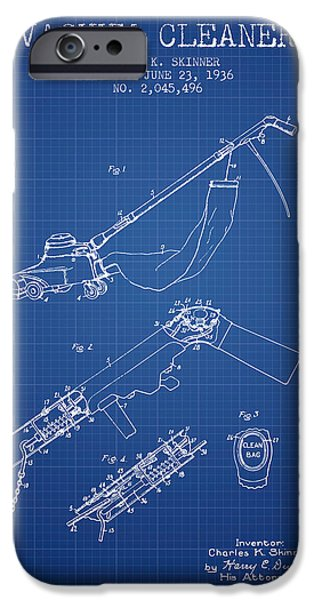 Electronics iPhone Cases - Vacuum Cleaner patent from 1936 - Blueprint iPhone Case by Aged Pixel