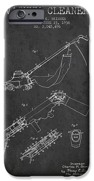 Electronic iPhone Cases - Vacuum Cleaner patent from 1936 - Dark iPhone Case by Aged Pixel