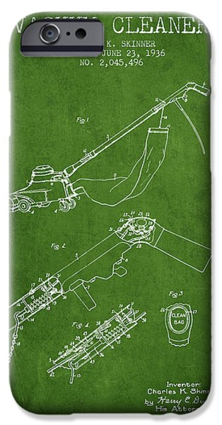 Electronic iPhone Cases - Vacuum Cleaner patent from 1936 - Green iPhone Case by Aged Pixel