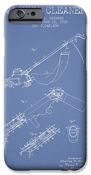 Electronic iPhone Cases - Vacuum Cleaner patent from 1936 - Light Blue iPhone Case by Aged Pixel