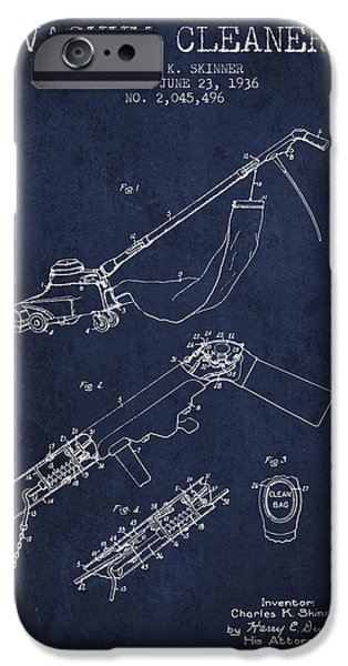 Electronic iPhone Cases - Vacuum Cleaner patent from 1936 - Navy Blue iPhone Case by Aged Pixel