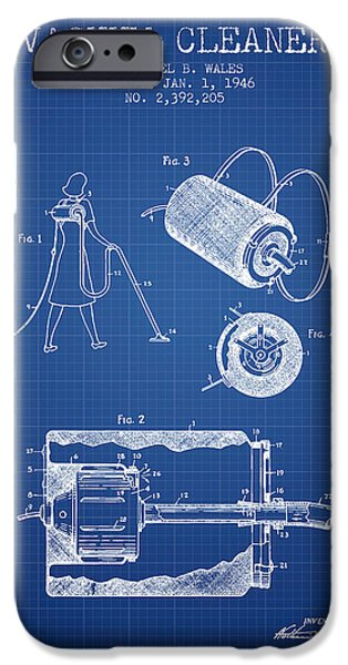 Electronics iPhone Cases - Vacuum Cleaner patent from 1946 - Blueprint iPhone Case by Aged Pixel