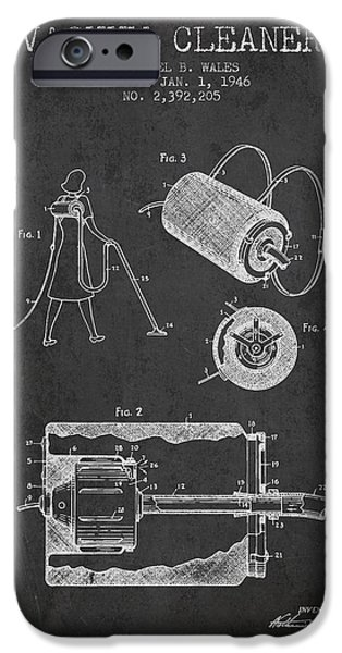 Electronic iPhone Cases - Vacuum Cleaner patent from 1946 - Charcoal iPhone Case by Aged Pixel