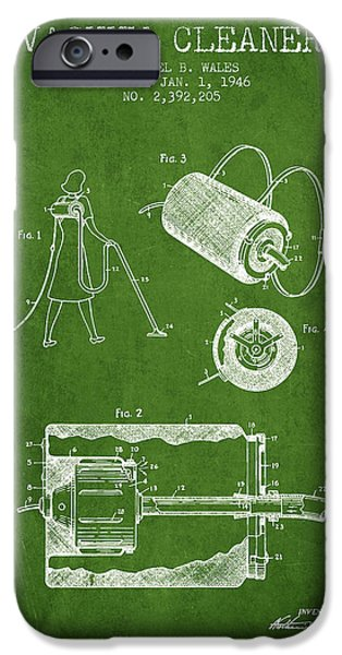 Electronic iPhone Cases - Vacuum Cleaner patent from 1946 - Green iPhone Case by Aged Pixel