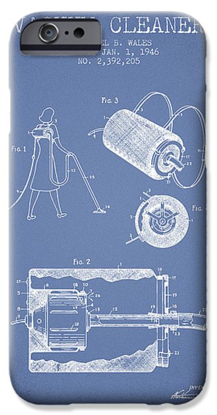 Electronic iPhone Cases - Vacuum Cleaner patent from 1946 - Light Blue iPhone Case by Aged Pixel