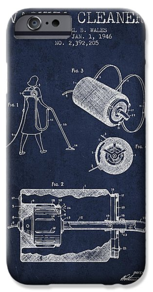 Electronic iPhone Cases - Vacuum Cleaner patent from 1946 - Navy Blue iPhone Case by Aged Pixel