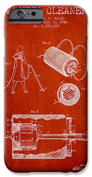 Electronic iPhone Cases - Vacuum Cleaner patent from 1946 - Red iPhone Case by Aged Pixel