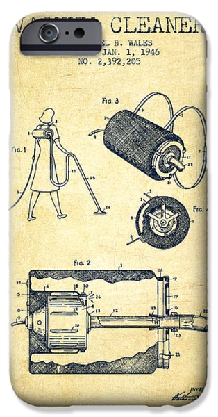 Electronic iPhone Cases - Vacuum Cleaner patent from 1946 - Vintage iPhone Case by Aged Pixel