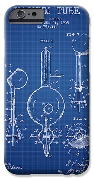 Electric Current iPhone Cases - Vacuum Tube Patent From 1905 - Blueprint iPhone Case by Aged Pixel