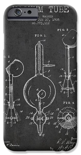 Electric Current iPhone Cases - Vacuum Tube Patent From 1905 - Charcoal iPhone Case by Aged Pixel