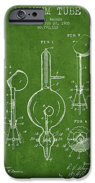 Electric Current iPhone Cases - Vacuum Tube Patent From 1905 - Green iPhone Case by Aged Pixel
