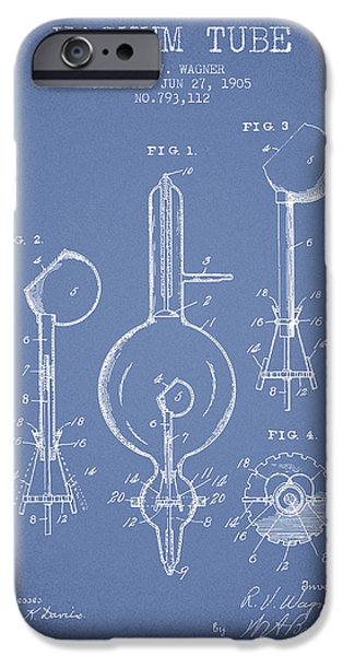 Electric Current iPhone Cases - Vacuum Tube Patent From 1905 - Light Blue iPhone Case by Aged Pixel