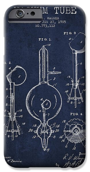 Electric Current iPhone Cases - Vacuum Tube Patent From 1905 - Navy Blue iPhone Case by Aged Pixel