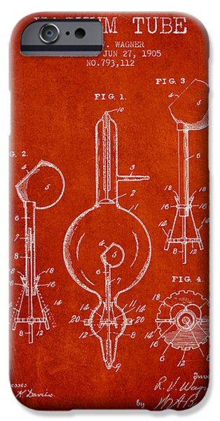 Electric Current iPhone Cases - Vacuum Tube Patent From 1905 - Red iPhone Case by Aged Pixel