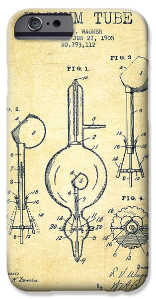Electric Current iPhone Cases - Vacuum Tube Patent From 1905 - Vintage iPhone Case by Aged Pixel
