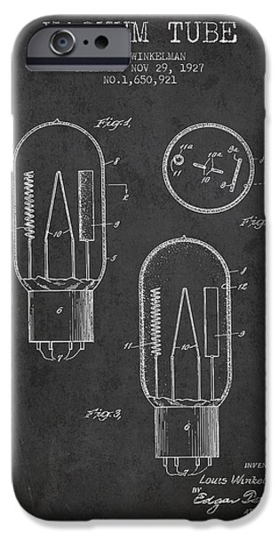 Electric Current iPhone Cases - Vacuum Tube Patent From 1927 - Charcoal iPhone Case by Aged Pixel