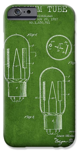 Electric Current iPhone Cases - Vacuum Tube Patent From 1927 - Green iPhone Case by Aged Pixel