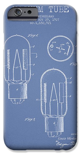 Electric Current iPhone Cases - Vacuum Tube Patent From 1927 - Light Blue iPhone Case by Aged Pixel