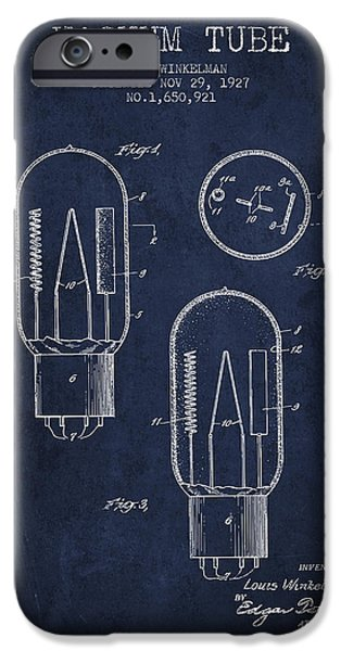 Electric Current iPhone Cases - Vacuum Tube Patent From 1927 - Navy Blue iPhone Case by Aged Pixel