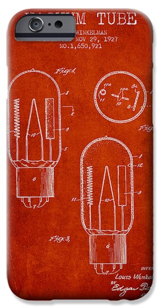 Electric Current iPhone Cases - Vacuum Tube Patent From 1927 - Red iPhone Case by Aged Pixel