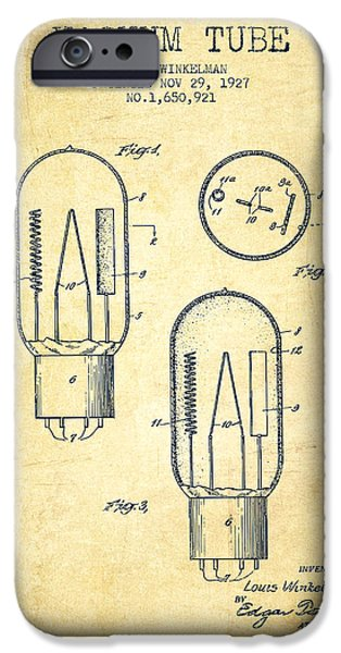Electric Current iPhone Cases - Vacuum Tube Patent From 1927 - Vintage iPhone Case by Aged Pixel