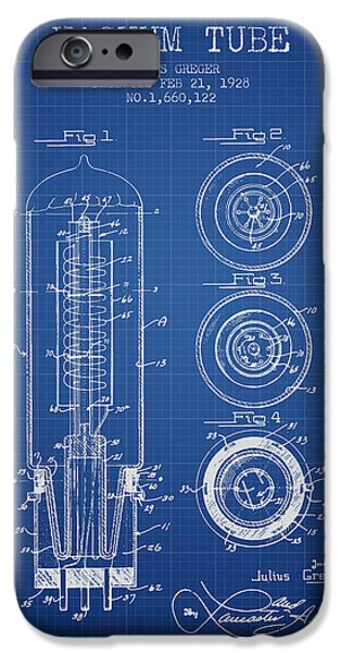 Electron iPhone Cases - Vacuum Tube Patent From 1928 - Blueprint iPhone Case by Aged Pixel