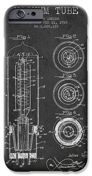 Electron iPhone Cases - Vacuum Tube Patent From 1928 - charcoal iPhone Case by Aged Pixel