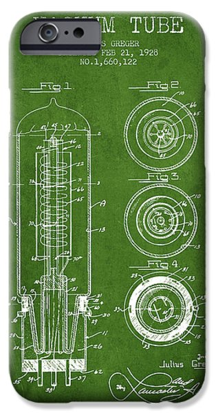 Electron iPhone Cases - Vacuum Tube Patent From 1928 - Green iPhone Case by Aged Pixel