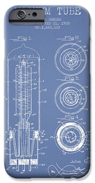 Electron iPhone Cases - Vacuum Tube Patent From 1928 - Light Blue iPhone Case by Aged Pixel