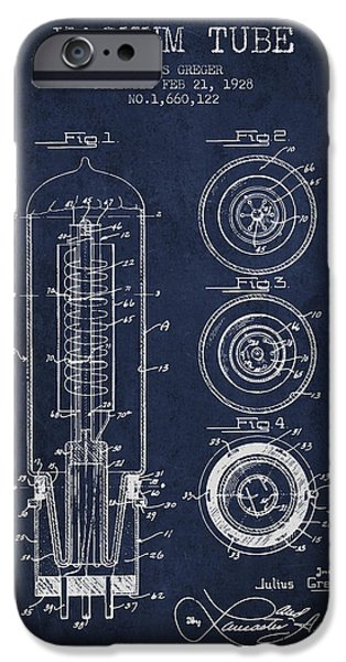 Electron iPhone Cases - Vacuum Tube Patent From 1928 - Navy Blue iPhone Case by Aged Pixel