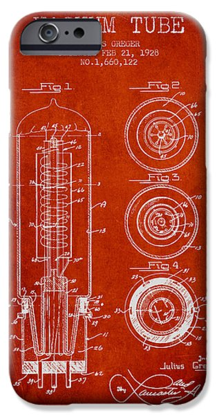 Electron iPhone Cases - Vacuum Tube Patent From 1928 - red iPhone Case by Aged Pixel
