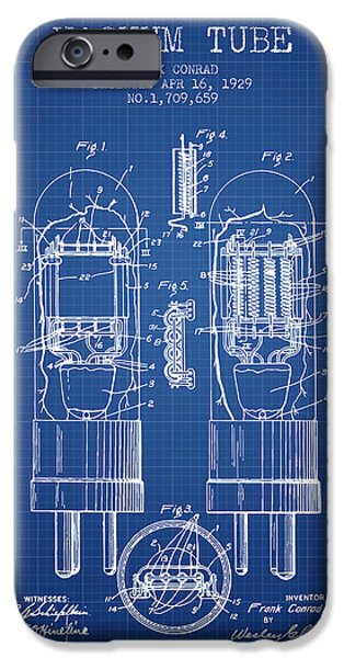 Electron iPhone Cases - Vacuum Tube Patent From 1929 - Blueprint iPhone Case by Aged Pixel