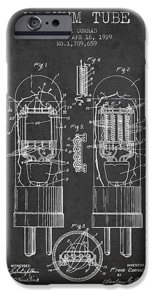 Electron iPhone Cases - Vacuum Tube Patent From 1929 - Charcoal iPhone Case by Aged Pixel