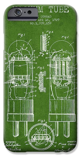 Electron iPhone Cases - Vacuum Tube Patent From 1929 - Green iPhone Case by Aged Pixel
