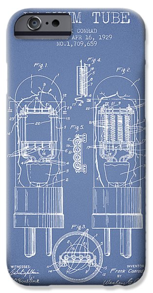 Electron iPhone Cases - Vacuum Tube Patent From 1929 - Light Blue iPhone Case by Aged Pixel