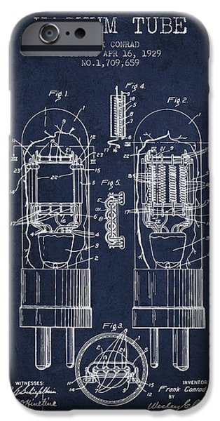Electron iPhone Cases - Vacuum Tube Patent From 1929 - Navy Blue iPhone Case by Aged Pixel