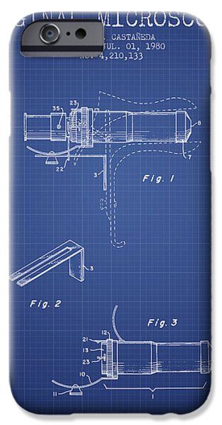 Microscope iPhone Cases - Vaginal Microscope patent from 1980 - Blueprint iPhone Case by Aged Pixel