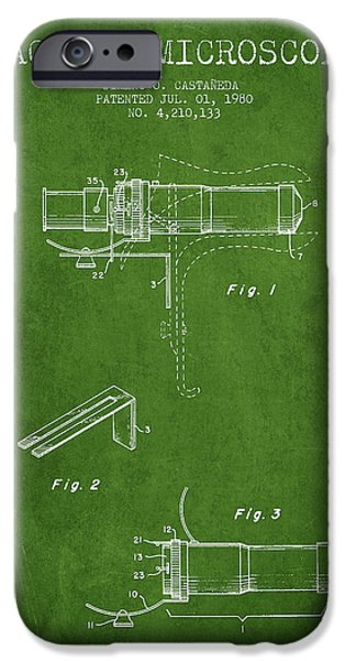 Microscope iPhone Cases - Vaginal Microscope patent from 1980 - Green iPhone Case by Aged Pixel
