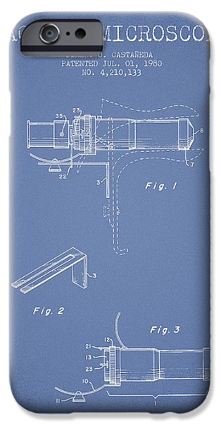 Microscope iPhone Cases - Vaginal Microscope patent from 1980 - Light Blue iPhone Case by Aged Pixel