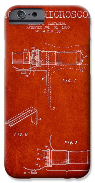 Microscope iPhone Cases - Vaginal Microscope patent from 1980 - Red iPhone Case by Aged Pixel