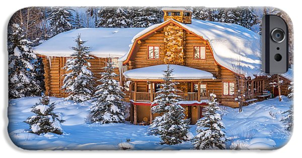 Snow Scene iPhone Cases - Vail Chalet iPhone Case by Darren  White
