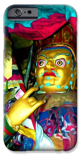 Tibetan Buddhism iPhone Cases - Vaishravana 1 iPhone Case by Lanjee Chee